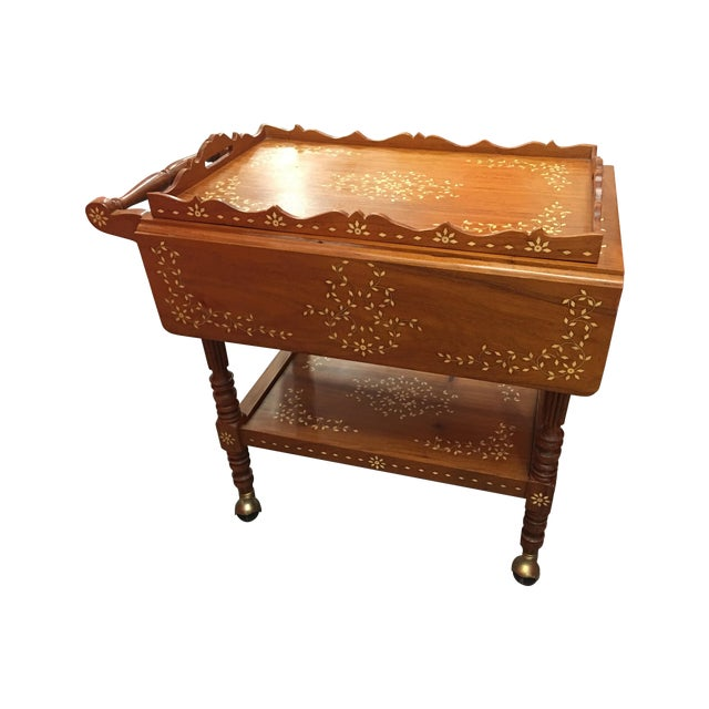 Filipino Drop-Leaf Inlaid Serving Tray Tea Cart - Image 1 of 11