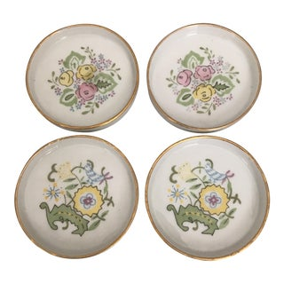 1930's Bohemian Gilded Porcelain Coasters - Set of 4