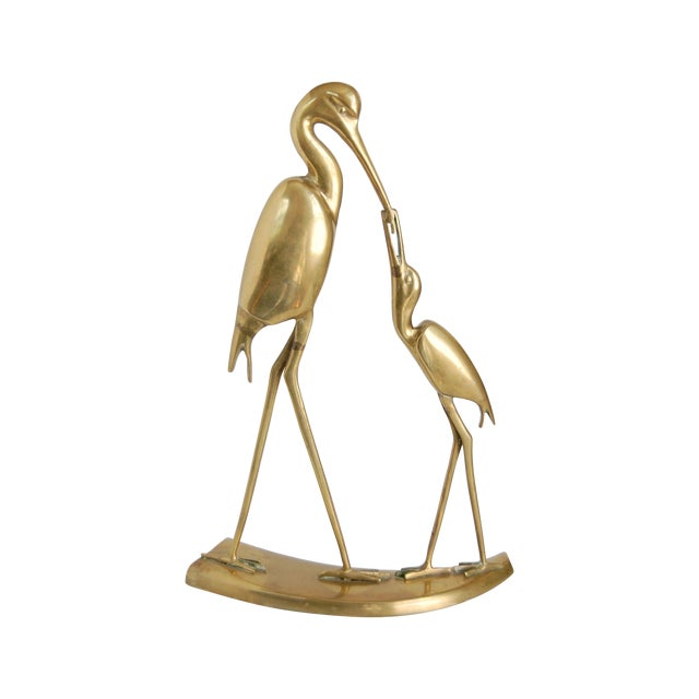 Large Vintage Brass Crane Statue - Image 1 of 9