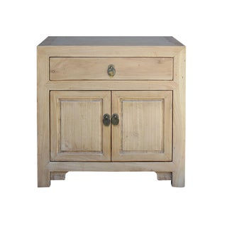 Chinese Natural Light Wood Tone End Table Nightstand