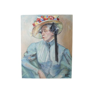 Walt Litt Vintage Potrait of a Woman Oil Painting
