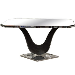 French Mirrored Side Table, Style of Jacques Adnet