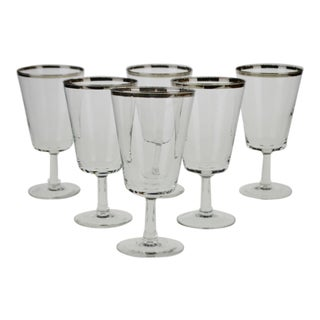Parisienne Cristallerie D'Arques France Silver Gilt Rimmed Water Goblets - Set of 6