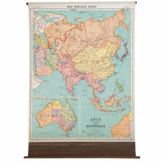 Antique Nystrom Pull Down Map of Asia & Australia