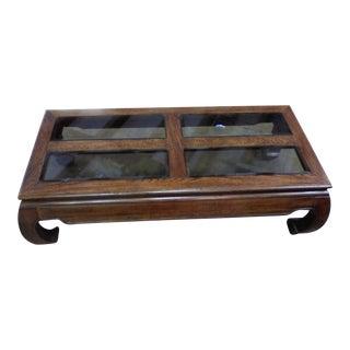 Oak & Glass Panel Asian Style Coffee Table