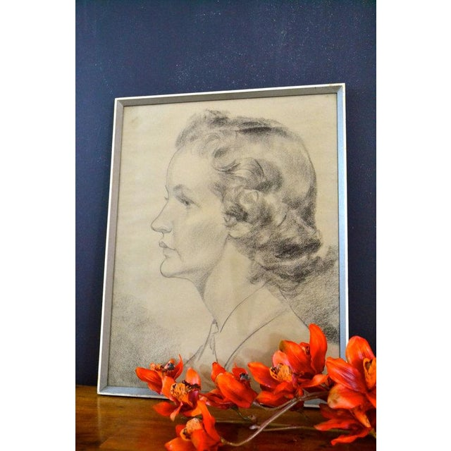 1956 Vintage English Hand Sketch of a Woman - Image 3 of 6
