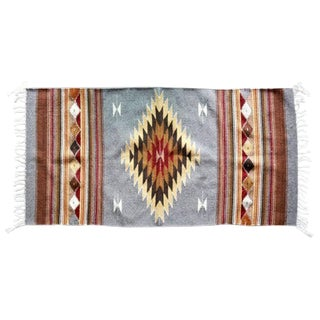 Mexican Pedal-Loom Gray Rug- 2′7″ × 4′10″