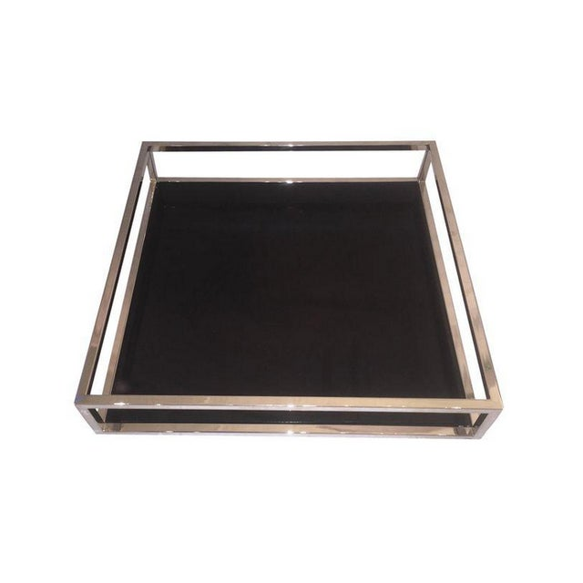 Mid-Century Style Chrome & Black Lacquered Tray - Image 1 of 4