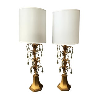 Gold Leaf & Crystal Drop Lamps- A Pair
