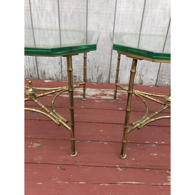 Image of Hollywood Regency Faux Bamboo Side Tables - A Pair