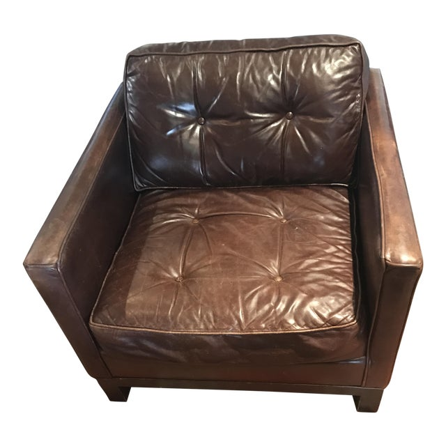 Tufted Brown Leather Armchair - Image 1 of 4