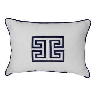 White & Navy Blue Geometric Pillow