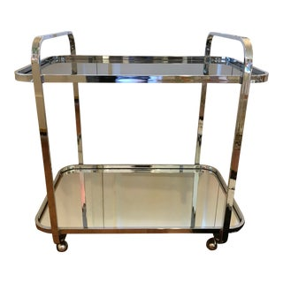 Mid-Century Milo Baughman Chrome, Glass & Mirror Bar Cart