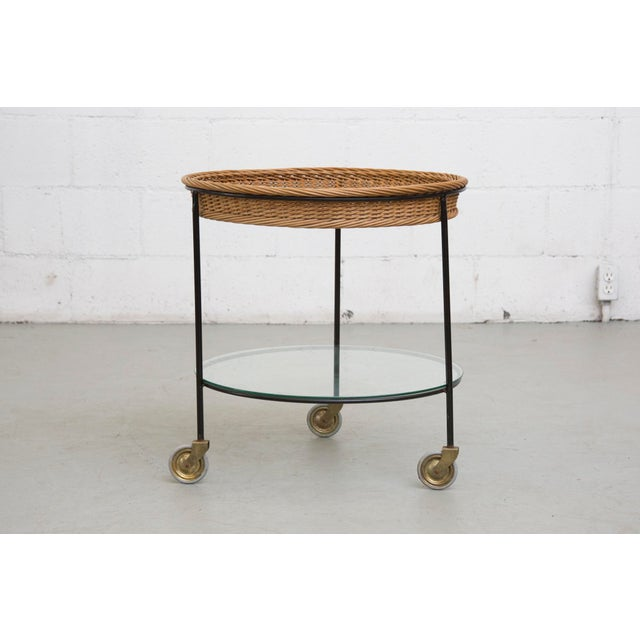 Image of Teak and Woven Rattan Rolling Cart