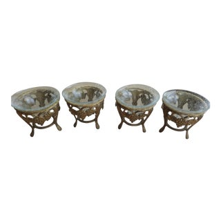 Brass Grapevine Motif Display Stands With a Crackle Glass Inserts - Set of 4