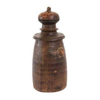 Vintage Nepal Wood Storage Pot w/Lid