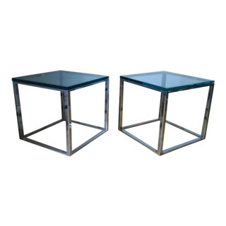 Milo Baughman Style Mid-Century End Tables - A Pair