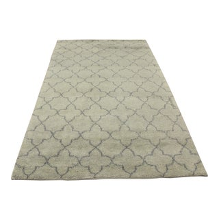 Moroccan Arya Kosmo Light Green & Gray Wool Rug - 5'2 X 8'0