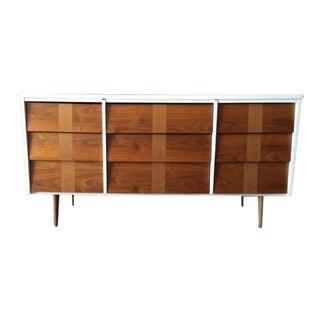 Mid Century 2 Tone Walnut White Lacquer Dresser