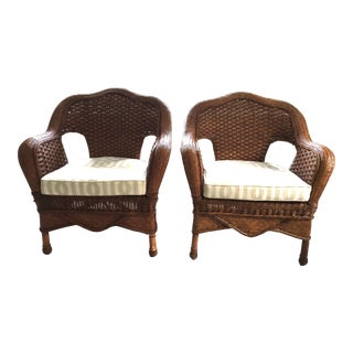 Pair of Rattan Occasional Chairs With Cushions in Schumacher Imperial Trellis