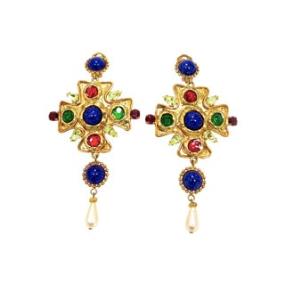 Dolce & Gabbana Poured Glass and Cabochon Earrings