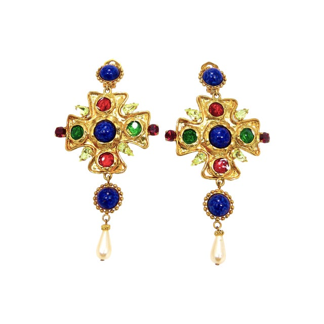 Image of Dolce & Gabbana Poured Glass and Cabochon Earrings