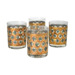 Vintage Green & Gold Cocktail Glasses - 4