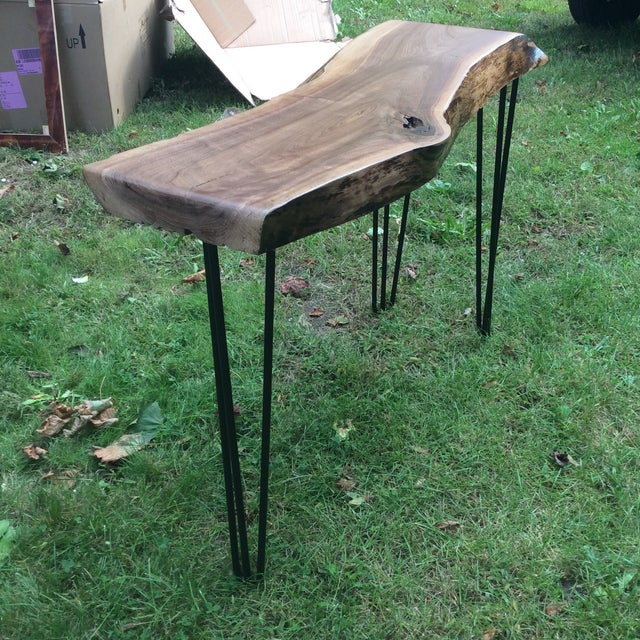 Adirondack Rustic Free Edge Slab Table For Sale At 1stdibs: Live Edge Walnut Slab Console Table