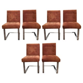 Paul Evans Mid-Century Modern Suede and Chrome Dining Chairs - Set of 6