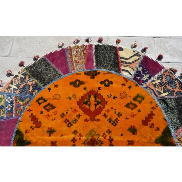 Turkish Handmade Patchwork Round Rug - 6′5″ × 6′5″ - Image 6 of 8