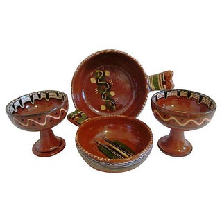 Vintage Mexican Redware Pottery Bowls - 4