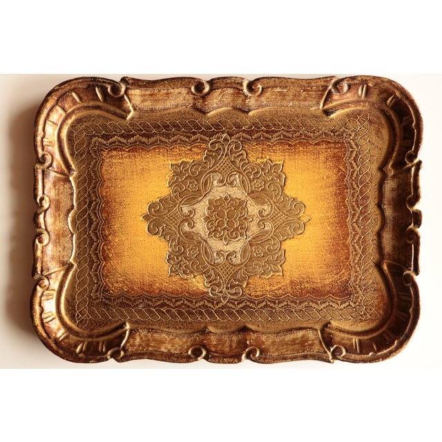 Golden Florentine Wood Tray - Image 2 of 7