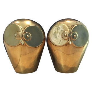 Vintage Minimalist Brass Owl Bookends - A Pair