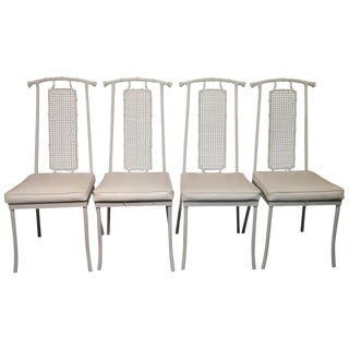 Vintage Faux Bamboo & Cane Metal Dining Chairs - Set of 4