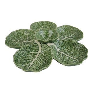 Green Cabbage Majolica Hors d'Ouvres & Dip Bowl