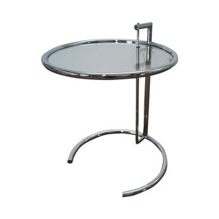 Eileen Gray Adjustable Chrome & Glass Side Table