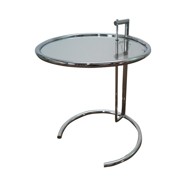eileen gray adjustable chrome glass side table chairish. Black Bedroom Furniture Sets. Home Design Ideas