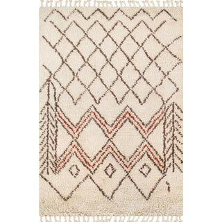 Moroccan White Shag Style Wool Area Rug- 6' X 9'