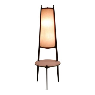 Mid-Century Modern Walnut Floor Lamp with Side Table