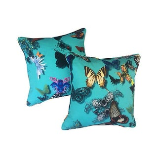 Christian Lacroix Blue Butterfly Pillows - A Pair
