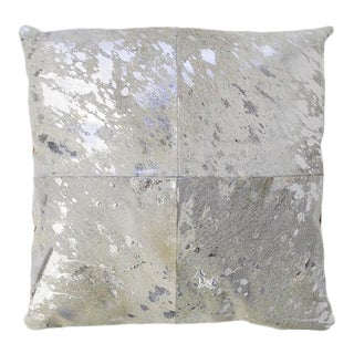 Forest Collection Cowhide Silver Pillow