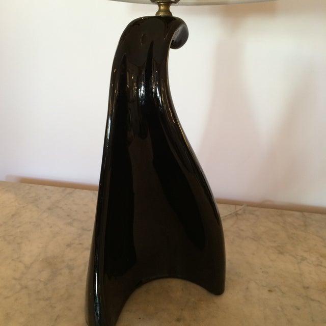 Image of Mid-Century Black Ceramic Table Lamp