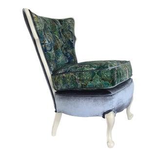 Boho Blue Velvet Vintage Slipper Chair