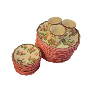 Pink and Green Ikat Patterned Dining Set