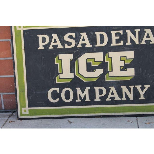 Early Pasadena Ice Company Trade Sign On Board From 1901 - Image 4 of 7