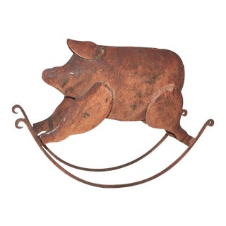 Rocking Painted Folk Art Pig Metal Sculpture