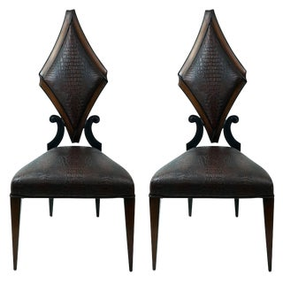 Pair of Art Deco Style Side Chairs in Faux Alligator by Christopher Guy