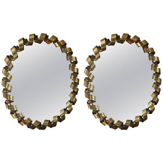 Designer Gold Leaf Spiral Mirrors- A Pair