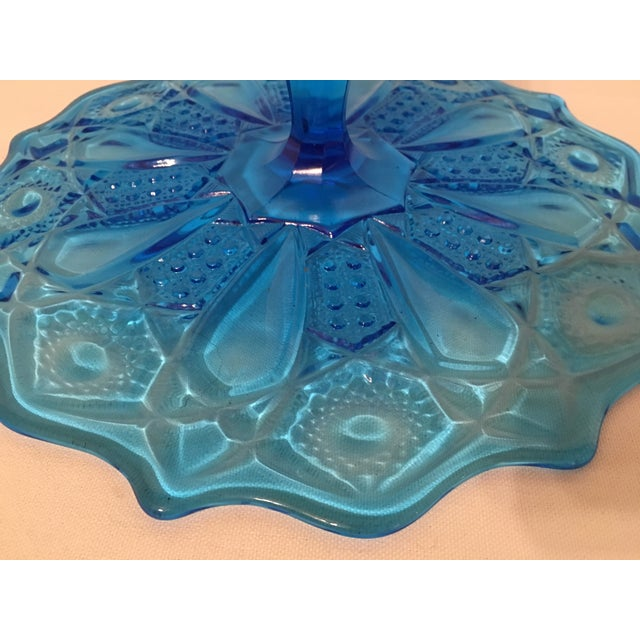 Blue Depression Style Glass Cake Stand - Image 6 of 6