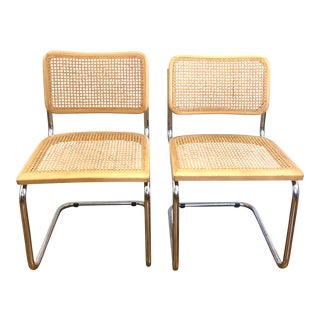 Cesca Style Cantilevered Cane Chairs - A Pair